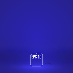 Template for display or montage of product. Empty blue color studio room background. Business backdrop. Material design concept. Vector illustration
