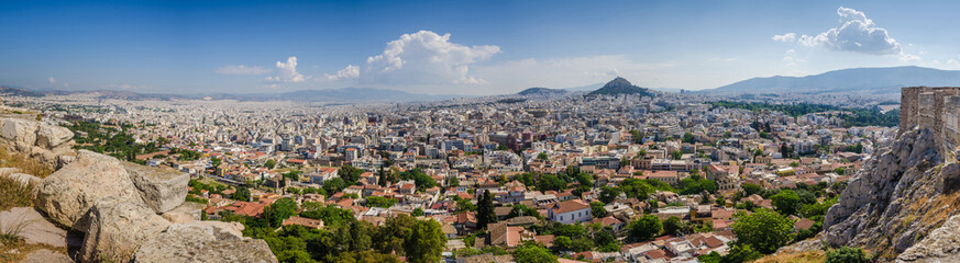 Panorama of Athens and ancient ruins, Greece.