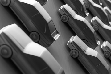 Background and texture of identical cars lined up at equidistant intervals. Diagonal composition.