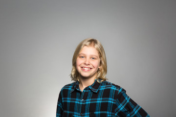 Studio portrait of a happy boy