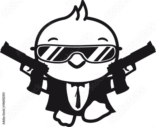 Waffen Pistolen Sonnenbrille Cool Mantel Gangster Böse Agent Spion