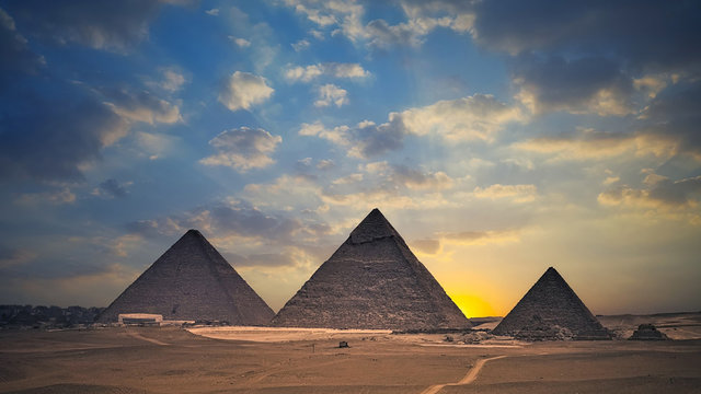 Egyptian pyramids at sunset - Egypt Travel