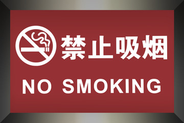 No Smoking sign written in Chinese and English