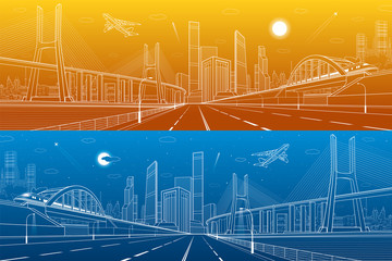 Infrastructure panorama. Large cable-stayed bridge. Train move on the bridge. Airplane fly. Modern city on background, towers and skyscrapers, day and night version, vector design art