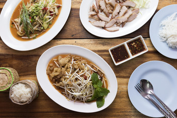 Delicious Thai North-eastern meal top view