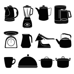 Kitchen tool silhouette collection