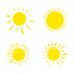 Four painted sun. Vector set of solar symbols.