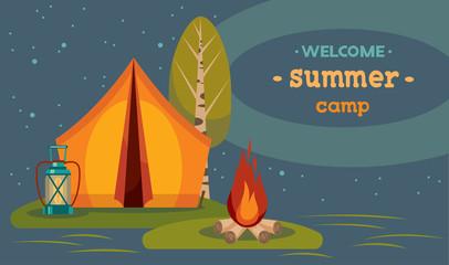 Summer camping - tent and campfire at night.