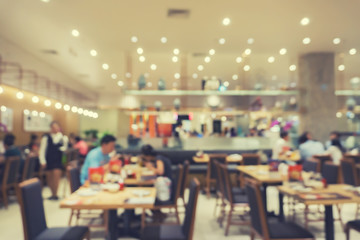 Defocus image of Coffee Shop or Cafeteria ,Customer at restaurant blur with bokeh for use as Background,vintage retro color