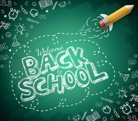 Welcome Back to School Drawing in Green Chalkboard Background. Vector Illustration