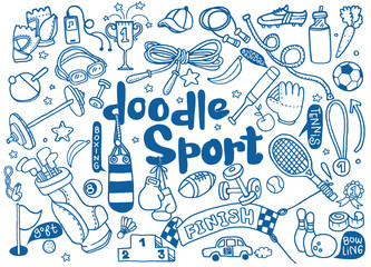 Hand drawn vector illustration set of fitness and sport sign and symbol doodles elements.