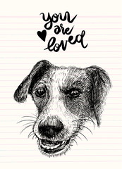 Vector illustration of a hand drawn honest dog,Sketch of Dog by pen