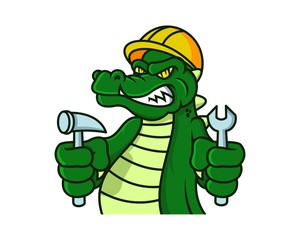 Unique and funny crocodile logo cartoon character