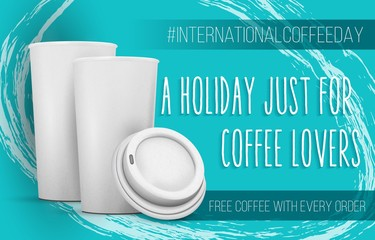 Illustration of International Coffee Day Banner Template. Open Coffee Cup Mockup with a Holiday Just For Coffee Lovers Text