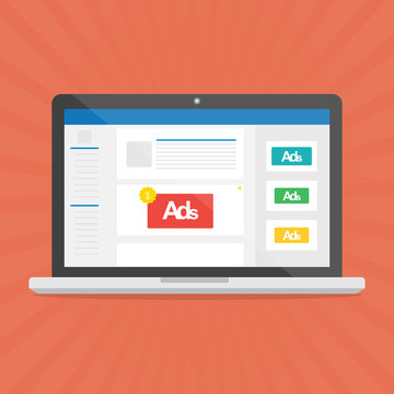 Computer laptop with social media advertising website.Vector illustration social ads digital marketing concept.