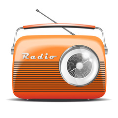 Orange Retro radio. vintage. vector illustration
