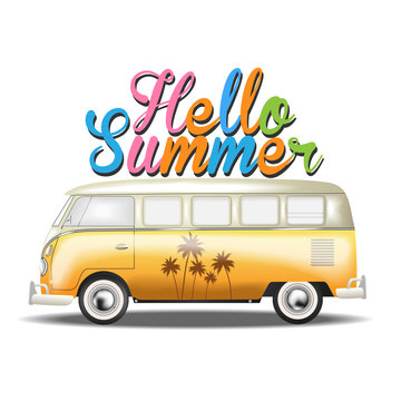 Retro car.vw. palm. summer. vector illustration