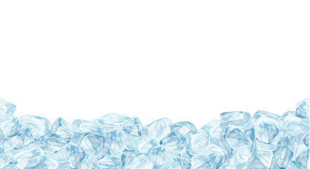 Ice cubes, realistic set, 3d vector illustration. Blue Ice collection, isolated, refresh, white, seamless horizontal background.