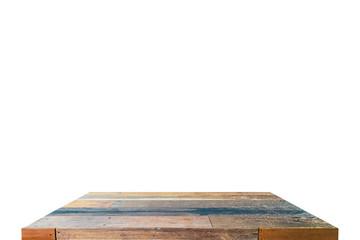Wood table top or shelf on isolate background