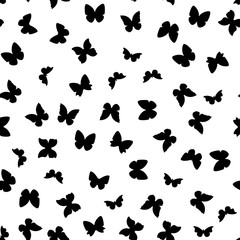 Random black and white butterflies pattern