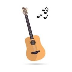 Guitar in flat design. Vector illustration of music instrument.