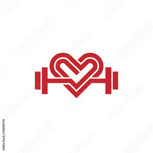 Love Fit Logo Vector Heart Sign And Dumbbell Logofitness And Heart