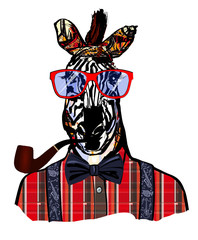 Zebra with sunglasses in hipster style