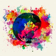 地球 水彩画