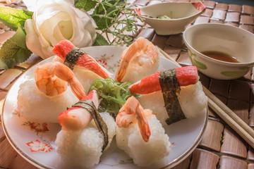 Sushi, shrimp and crab sticks