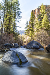 mountain stream with big pines and volcanic cliffs