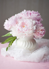 Double Peony Summer Floral Bouquet with lace accent