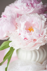 Double Peonies in Vase