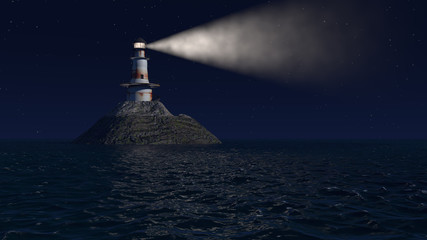 3d illustration of an old lighthouse at night