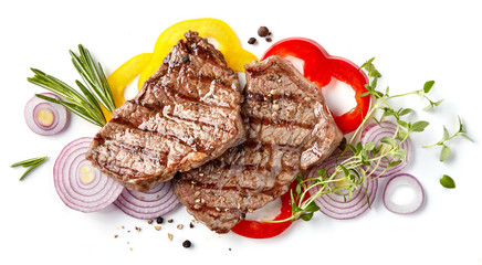 Aluminium Prints Grill / Barbecue grilled beef steak
