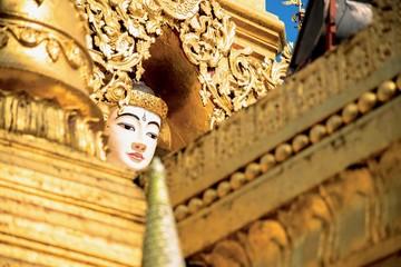 Golden Buddha Image at Yele Paya, or Floating Buddhist Monastery in Siream, Myanmar
