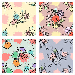 Vector seamless floral pattern with butterfly flowers, leaves, decorative elements, splash, blots, drop Hand drawn contour lines and strokes Doodle sketch style, graphic vector drawing illustration