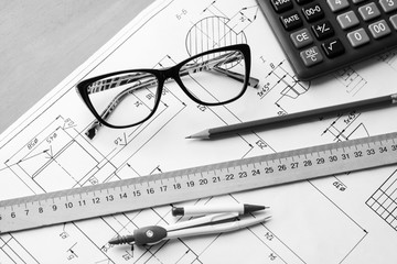 Engineering drawing equipment, paper, ruler and pencil