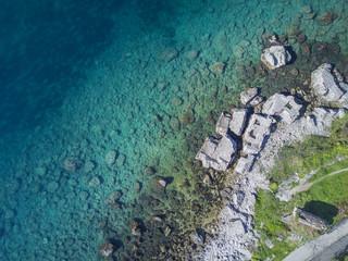 Rocky seashore, top view