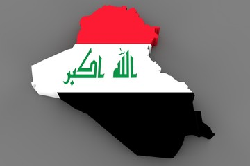 Country shape of Irak - 3D render of country borders filled with colors of Irak flag isolated on grey background