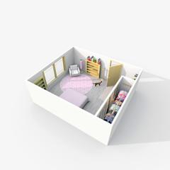 3d interior rendering of furnished bedroom