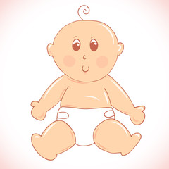 Cute little baby in diaper sitting on the floor illustration