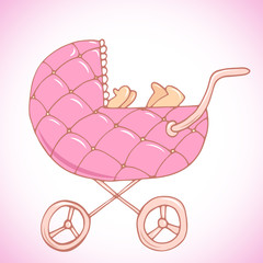 Beautiful pink baby carriage with baby inside illustration