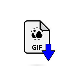 GIF file with blue arrow download button on white background vector