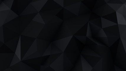 Chaotic black low poly surface abstract 3D render
