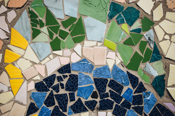 Pseudo detail of mosaic in Guell park in Barcelona. Imitation of the style of Antoni Gaudi.