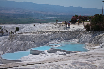 beautiful limestone hot natural turquoise springs cotton castle, pammukale, turkey