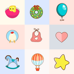 Cute baby icon set
