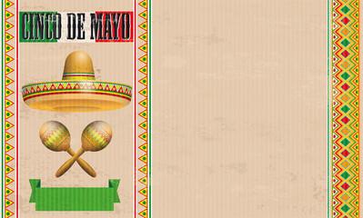 Cinco De Mayo Vintage Header Sombrero Maracas