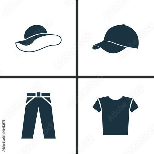91c716b0 Dress Icons Set. Collection Of Casual, Trilby, Pants And Other Elements.  Also Includes Symbols Such As Visor, Shirt, Trousers.