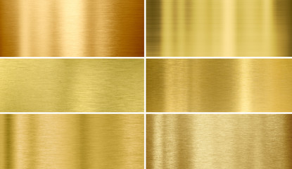 Gold or brass brushed metal textures Wall mural